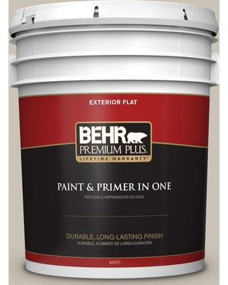 BEHR Premium Plus 5 gal. #PPU5-08 Sculptor Clay Flat Exterior Paint and Primer in One