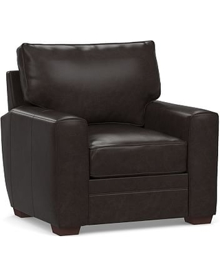 Pearce Square Arm Leather Recliner, Down Blend Wrapped Cushions, Vintage Midnight