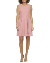 52seven Sleeveless Textured Belted Fit & Flare Dress, 10 , Pink