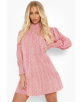 Womens Floral High Neck Puff Sleeve Smock Dress - Red - 4