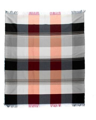 Woven Plaid Cotton Blend Tablecloth from Mexico