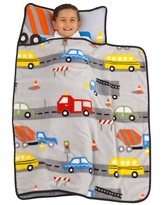 Everything Kids Grey, Red, Yellow and Blue Construction Toddler Nap Mat with Pillow and Blanket