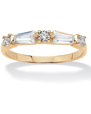 Yellow Gold-Plated Baguette - Tapered Ring Cubic Zirconia - White