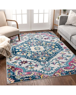 """Well Woven Mystic Gwendolyn Bohemian Floral Distressed Multi-Color 3'11"""" x 5'3"""" Area Rug"""