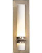 "Hubbardton Forge Rook Gold 14""H Opal Glass Wall Sconce"