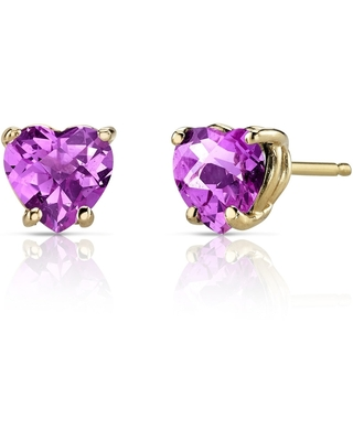 2.25 ct Heart Shape Created Pink Sapphire Stud Earrings in 14K Yellow Gold