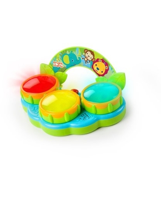Bright Starts Safari Beats Musical Drum Toy with Lights, Ages 3 months +