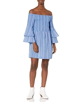 Mud Pie Women's Desi Off The Shoulder Dress, Large Chambray Blue