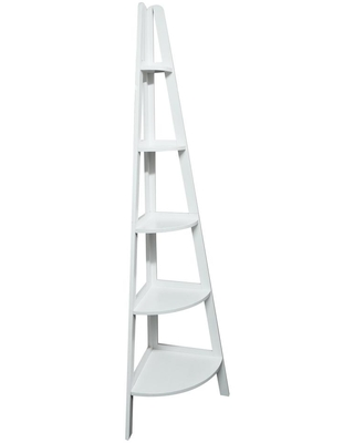 Casual Home 72 in. White Wood 5-shelf Ladder Bookcase