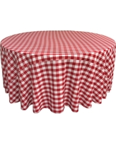 White And Red Polyester Gingham Checkered Round Tablecloth, White/Red