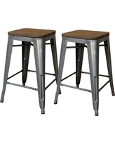 Hampden Industrial 24 Counter Stool - Natural Metal (Set of 2) - Threshold