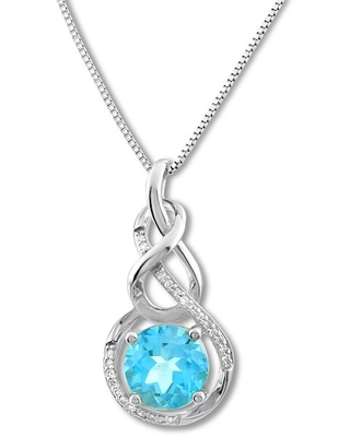 Jared The Galleria Of Jewelry Blue Topaz Necklace 1/15 ct tw Diamonds Sterling Silver