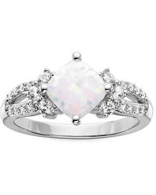 Lab-Created Opal & Lab-Created White Sapphire Sterling Silver Cocktail Ring, 7