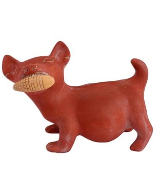 Ceramic Dog Sculpture Mexican Archaeology Replica