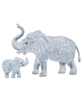 3D Crystal Puzzle - Elephant and Baby, 46 Pcs