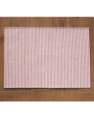 Wheaton Striped Linen/Cotton Placemats, Set of 4 - Red