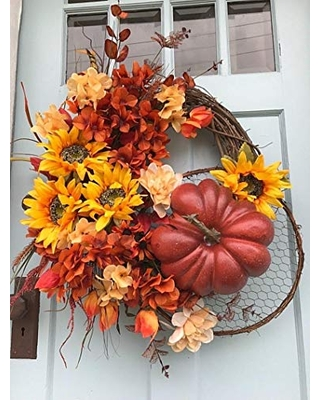 Fall Red, Yellow, Orange Floral with Large pumpkin Grapevine Wreath for Door.