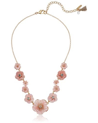 Lonna & Lilly Women's Gold and Pink Flower Frontal Necklace, One Size