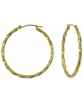 14K Yellow Gold 28mm Textured Hoop Earrings, One Size , No Color Family