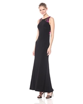 Alex Evenings Women's Long Dress with Embroidered Shoulder and Back Detail, Black/Multi, 14