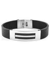 Two Tone Stainless Steel ID Leather Bracelet (16mm) - 8