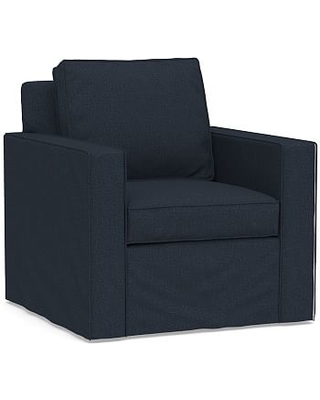 Cameron Square Arm Slipcovered Armchair, Polyester Wrapped Cushions, Performance Brushed Basketweave Indigo