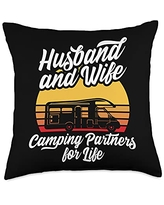 Funny Camping Sayings & Designs Husband and Wife Camping Partners For Life RV Holiday Camper Throw Pillow, 18x18, Multicolor