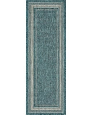 Unique Loom Outdoor Soft Border Area Rug (2' x 6' Runner - Teal)