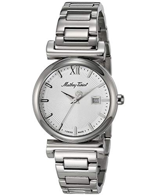 MATTHEY-TISSOT Women's Elegance Quartz Stainless Steel Strap, Silver, 15 Casual Watch (Model: D410AI)