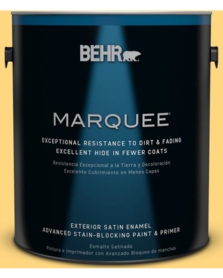 BEHR MARQUEE 1 gal. #320B-5 Zinnia Gold Satin Enamel Exterior Paint and Primer in One