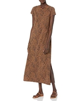 Daily Ritual Women's Lived-in Cotton Relaxed-Fit Short Sleeve Crewneck Maxi Dress, Black/Brown Rain Drop Print, X-Small