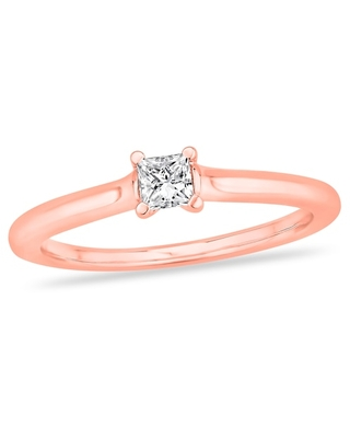 Jared Diamond Solitaire Engagement Ring 1/4 ct tw Princess-cut 14K Rose Gold