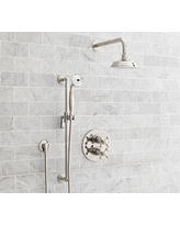 Langford Thermostatic Cross-Handle Hand-Held Shower Faucet Set, Polished Nickel Finish