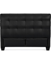 Gable Low Headboard, Queen, Leather, Solid, Black