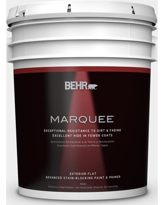 BEHR MARQUEE 5 gal. #W-D-610 White Glove Flat Exterior Paint and Primer in One