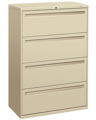 HON 4 Drawers Lateral Lockable Filing Cabinet, Putty