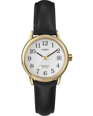 Timex Women's Easy Reader Date 25mm Black/Gold/White Leather Strap Watch