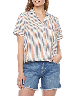 a.n.a Womens Short Sleeve Boxy Fit Button-Down Shirt, Small , White