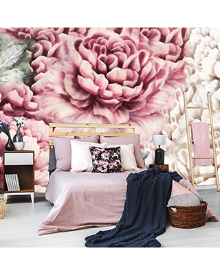 Peonies Wallpaper Removable, Floral Wallpaper Peonies, Wallpaper Mural Floral, Slef Adhesive Wallpaper Peony. Flowers Room Decor. KM368