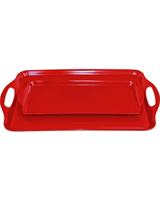 Calypso Basics Rectangular and Tidbit Serving Tray Set, Red