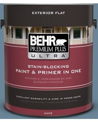 BEHR Premium Plus Ultra 1 gal. #MQ5-60 South Pacific Flat Exterior Paint and Primer in One