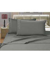 1500 Series 4-Piece Gray Triple Marrow Embroidered Pillowcases Microfiber Full Size Bed Sheet Set, Blues