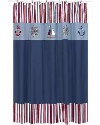 Nautical Nights Shower Curtain Blue/Red - Sweet Jojo, Multi-Colored