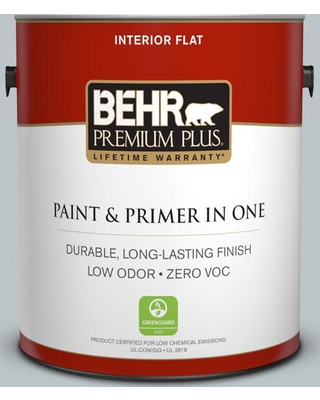BEHR Premium Plus 1 gal. #PPU12-10 Misty Morn Flat Low Odor Interior Paint and Primer in One