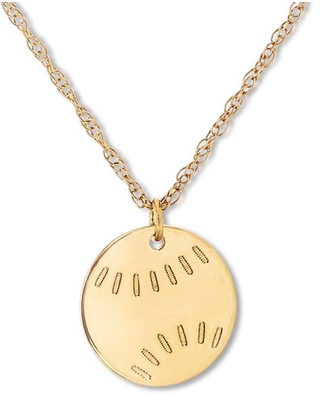 """Jared The Galleria Of Jewelry Baseball Necklace 14K Yellow Gold 16"""" Adjustable"""