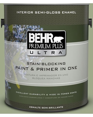 BEHR ULTRA 1 gal. #PMD-36 Mountain Sage Semi-Gloss Enamel Interior Paint and Primer in One