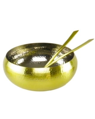 Classic Touch Gold Salad Bowl and salad server Set-set of 3