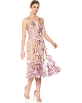 Dress the Population Women's Audrey Spaghetti Strap Midi a-Line 3D Floral Dress, Lilac/Nude, XS