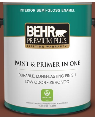 BEHR Premium Plus 1 gal. #S200-7 Earth Fired Red Semi-Gloss Enamel Low Odor Interior Paint and Primer in One