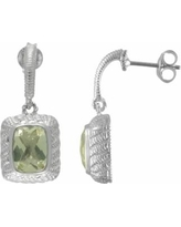 SIRI USA by TJM Sterling Silver Lemon Quartz and Cubic Zirconia Textured Rectangle Frame Drop Earrings, Women's, Yellow